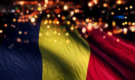 Romania National Flag Light Night Bokeh Abstract Background Royalty Free Stock Photography