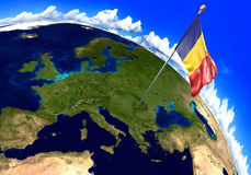Romania national flag marking the country location on world map. 3D rendering vector illustration