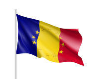 Romania national flag with a star circle of EU Royalty Free Stock Photo