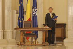 Romania New Government: Dacian Ciolos Cabinet. Romania's prime minister Dacian Ciolos speaks during a swearing in ceremony at Cotroceni Palace, the Romanian Royalty Free Stock Photos