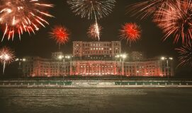 Romania Parliament House, New year celebrating with fireworks, fine art edit