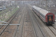 Romania passanger trains. Bucharest, Romania, March 13, 2016: Passenger trains are seen the switch yard of Gara de Nord main railway station Royalty Free Stock Image