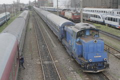 Romania passanger trains. Bucharest, Romania, March 13, 2016: Passenger trains are seen the switch yard of Gara de Nord main railway station Stock Photos