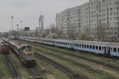 Romania passanger trains. Bucharest, Romania, March 13, 2016: Passenger trains are seen the switch yard of Gara de Nord main railway station Royalty Free Stock Photos