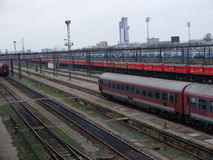 Romania passanger trains. Bucharest, Romania, March 13, 2016: Passenger trains are seen the switch yard of Gara de Nord main railway station Stock Photo