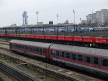 Romania passanger trains. Bucharest, Romania, March 13, 2016: Passenger trains are seen the switch yard of Gara de Nord main railway station Royalty Free Stock Photography