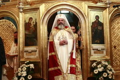 Romania Patriarch Daniel. Romanian Orthodox Church Patriarch Daniel blesses at a service in front of the altar of Cathedral in Bucharest, Romania stock photos