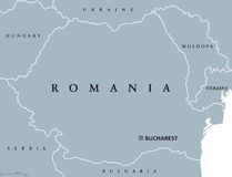 Romania political map. With capital Bucharest, national borders and neighbor countries. Sovereign sate in Eastern Europe. Gray illustration with English Royalty Free Stock Photos