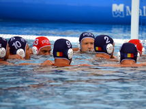 Romania preparing for the battle-cry. Budapest, Hungary - Jul 17, 2014. Romania preparing for the battle-cry. The Waterpolo European Championship was held in Royalty Free Stock Photo