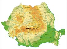 Romania relief map. Highly detailed physical map of Romania,in vector format,with all the relief forms,regions and big cities Royalty Free Stock Image