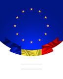 Romania, ribbon with Romanian Flag and the European Union Flag. Banner, illustration for the Great Union day, Romanian National day with the flag ribbon and EU Stock Images