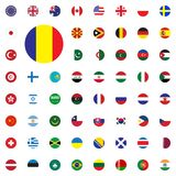 Romania round flag icon. Round World Flags Vector illustration Icons Set. Stock Images