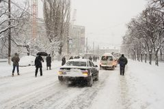 Romania's capital, Bucharest under heavy snow. Heavy snow grinds traffic to a standstill Stock Image