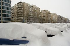 Romania's capital, Bucharest under heavy snow. Royalty Free Stock Image
