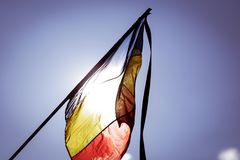 Romania`s flag at half mast. During a national day of mourning Royalty Free Stock Image