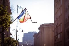 Romania`s flag at half mast. During a national day of mourning Stock Photo