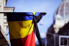 Romania`s flag at half mast. During a national day of mourning Royalty Free Stock Photography