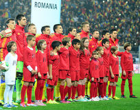 Romania's lineup before FIFA World Cup Playoff Game Stock Photography