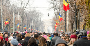 Romania's national Day. Romanian people gather to celebrate Romania's national Day at Triumph Arc Square(Arcul de Triumf Stock Photography