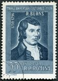 ROMANIA - 1959: shows portrait of Robert Burns 1759-1796, Scottish Poet, series Various cultural anniversaries in 1959. ROMANIA - CIRCA 1959: A stamp printed in Royalty Free Stock Images