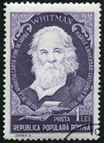 ROMANIA - 1955: shows Walter Walt Whitman 1819-1892, american poet, series Portraits. ROMANIA - CIRCA 1955: A stamp printed in Romania shows Walter Walt Whitman Stock Photos