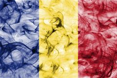 Romania smoke flag isolated on a white background. Romania smoke flag isolated on a white background Stock Images