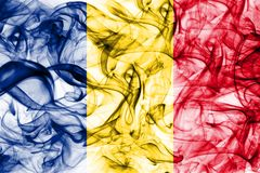 Romania smoke flag on a white background.  Stock Photos