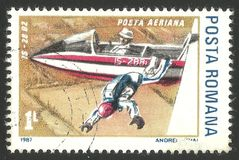 Airplanes, Is 28 B2. Romania - stamp printed 1987, Air Mail Edition with Photogravure Printing, Topic Aviation, Series Airplanes, Is-28 B2 Stock Photography