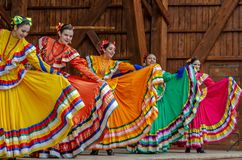 Mexican dancers in traditional costumes royalty free stock photo