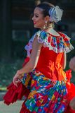 Young dancer girl from Puerto Rico in traditional costume royalty free stock image