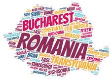 Romania top travel destinations word cloud Stock Photo