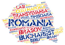 Romania top travel destinations word cloud Stock Images