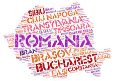 Romania top travel destinations word cloud Royalty Free Stock Image