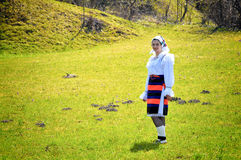 Romania traditional woman. A young woman in specific handmade clothes in Romania Royalty Free Stock Photography