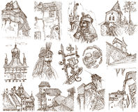 Romania. Traveling series: Romania - Collection of an hand drawn illustrations. Description: Full sized hand drawn illustrations drawing on white background Stock Photos