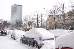 Romania under heavy snow Stock Image
