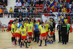 ROMANIA vs. SPAIN - WOMEN FRIENDLY HANDBALL MATCH. Ambros Martin C , head coach of Romania women hanball team, pictured at a team time-out during friendly royalty free stock photos