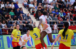 ROMANIA vs. SPAIN - WOMEN FRIENDLY HANDBALL MATCH. Spain`s Alexandrina Barbosa 2ndR in action during a friendly handball game Romania vs. Spain, played at Dinamo royalty free stock photography