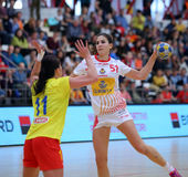 ROMANIA vs. SPAIN - WOMEN FRIENDLY HANDBALL MATCH. Spain`s Espinola Perez R in action during a friendly handball game Romania vs. Spain, played at Dinamo Sport royalty free stock photo