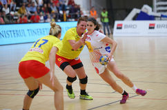 ROMANIA vs. SPAIN - WOMEN FRIENDLY HANDBALL MATCH. Spain`s Irene Espinola Perez R , in action during a friendly handball game Romania vs. Spain, played at Dinamo stock images