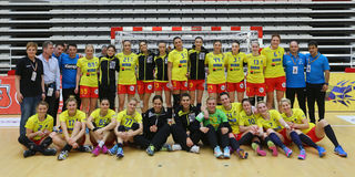 ROMANIA vs. SPAIN - WOMEN FRIENDLY HANDBALL MATCH. Romania`s women national handball team pictured after a friendly handball game Romania vs. Spain, played at stock photo