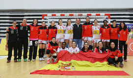 ROMANIA vs. SPAIN - WOMEN FRIENDLY HANDBALL MATCH. Spain`s women national handball team pictured after a friendly handball game Romania vs. Spain, played at royalty free stock images