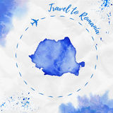 Romania watercolor map in blue colors. Stock Image