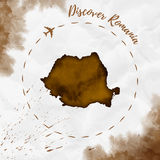 Romania watercolor map in sepia colors. Stock Images