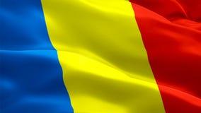 Romania waving flag. National 3d Romanian flag waving. Sign of Romania seamless loop animation. Romanian flag HD resolution Backgr stock illustration
