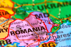 Romania on the World Map Stock Photography
