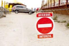 Romanian access forbidden sign Stock Photo