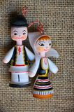 Romanian art craft. Romanian miniature dolls with the national costumes stock photos