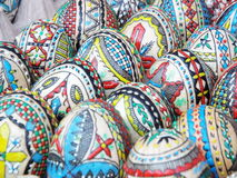Romanian artistic painted eggs background Royalty Free Stock Images