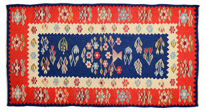 Romanian Arts and Crafts. Romanian wool carpet with traditional pattern. Made with the hand loom Stock Photos